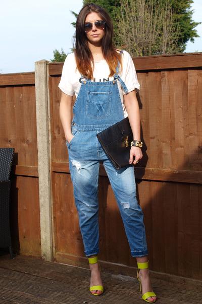 blue Zara romper - black Ebay bag - chartreuse H&M heels - white Celine t-shirt