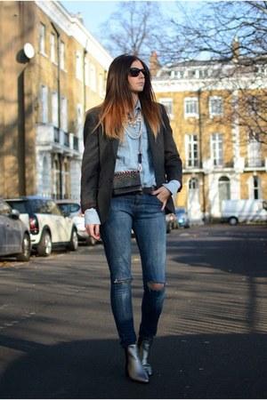 silver Zara boots - navy Bershka jeans - charcoal gray Primark blazer