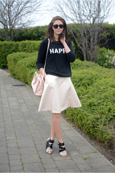 black Peacocks sweater - light pink Miss Selfridge bag - light pink asos skirt