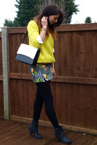 black new look boots - yellow Forever 21 sweater - white Marks &spencer bag