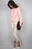 white Kurt Geiger wedges - brick red Primark bag - light pink fluffy H&M jumper