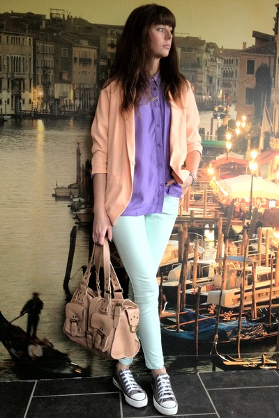 peach H&amp;M blazer - light blue H&amp;M jeans - light purple Miss Selfridge shirt