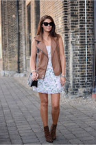 brown Zara boots - light pink Forever 21 dress - brown M&S jacket
