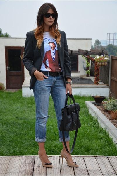 sky blue Primark jeans - gray Primark blazer - black Zara bag