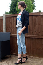 light blue Zara jeans - black Zara blazer - heather gray Primark jumper