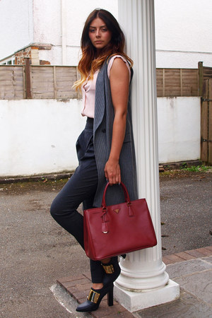 ruby red Prada bag - heather gray Zara blazer - light pink Primark blouse