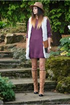 purple H&M dress - bronze Zara boots - bronze Zara hat - bronze Accessorize bag