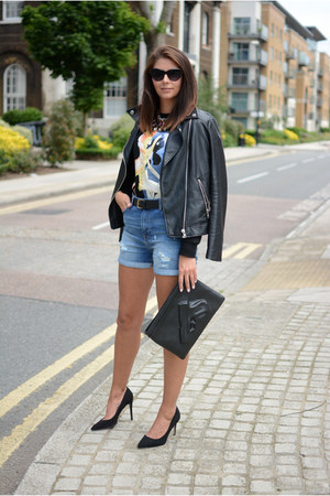 black Forever 21 jacket - black Choies bag - navy whistles shorts