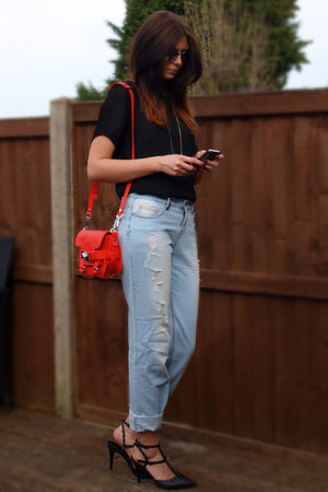 light blue Primark jeans - carrot orange Zara bag - gray Primark sunglasses