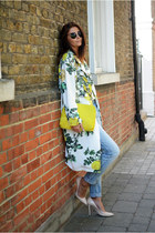 white floral print asos coat - sky blue Fashion Union jeans
