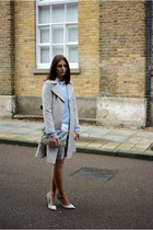 silver H&M coat - heather gray Peacocks dress - silver Dorothy Perkins bag