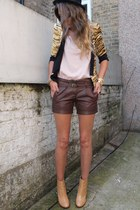 bronze Zara blazer - tan ankle boots Zara boots - black bowler hat H&M hat