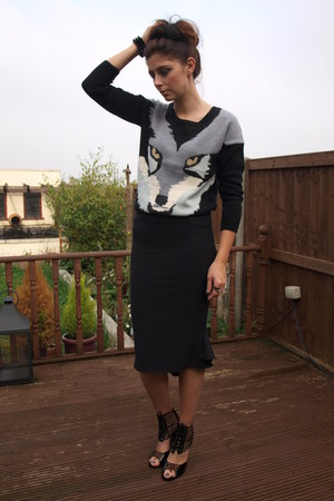warehouse jumper - Ebay skirt - Chockers heels
