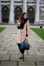 Bronze-river-island-coat-black-next-bag-black-kurt-geiger-heels
