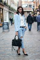 black balenciaga bag - sky blue Zara jeans - sky blue Zara blazer