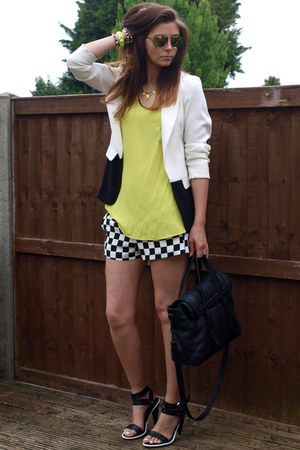 black Zara bag - white Primark blazer - black Zara shorts