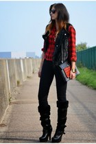 brick red asos bag - black Topshop boots - black next jeans - red Primark shirt