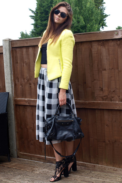 black balenciaga bag - yellow Zara jacket - dark brown Primark sunglasses