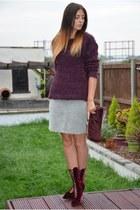 crimson velvet lace up Kurt Geiger boots - maroon furry Primark sweater