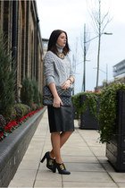 black Chanel bag - black F&F skirt - heather gray Zara jumper - black asos heels