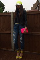 chartreuse H&M hat - navy Zara jeans - black new look shirt - hot pink Zara bag