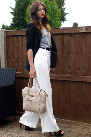 black Zara blazer - beige Topshop bag - heather gray Primark t-shirt