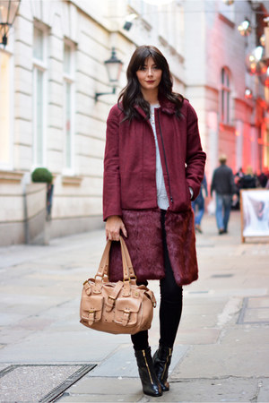 maroon French Connection coat