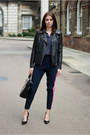 Black-forever-21-jacket-navy-wallis-shirt-navy-custommade-pants