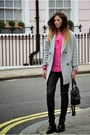 Black-asos-boots-silver-asos-coat-hot-pink-topshop-shirt