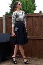 black Ebay bag - gold Primark sunglasses - black Forever 21 skirt