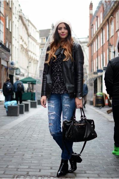 black Zara boots - navy Zara jeans - eggshell Primark hat