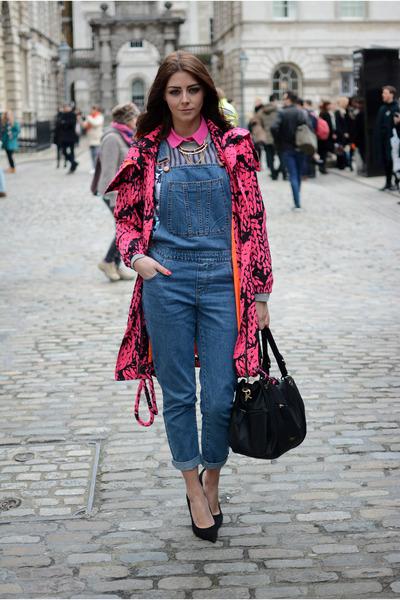 black Fiorelli bag - hot pink warehouse coat