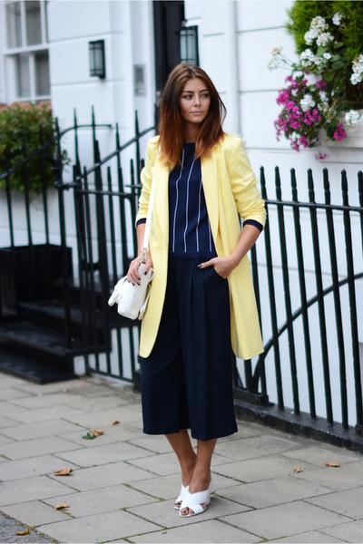 navy M&S jumper - light yellow M&S coat - white PERSUNMALL bag - white M&S heels