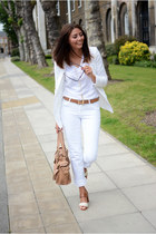 white Lee jeans - white Forever 21 blazer - nude Mulberry bag