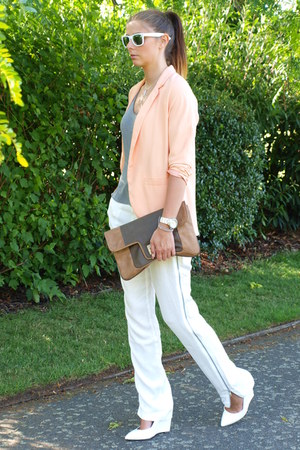 peach H&M blazer - camel warehouse bag - white Primark sunglasses