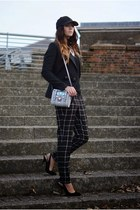 black Kurt Geiger shoes - black H&M hat - black H&M blazer - silver asos bag