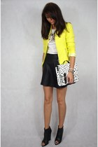 yellow Zara jacket - black Zara boots - white H&M bag - black Primark skirt
