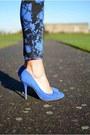 Black-h-m-hat-black-zara-bag-blue-new-look-pants-blue-nellycom-heels