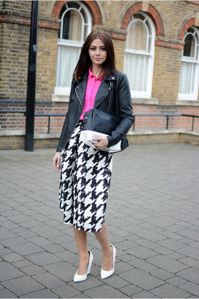 black Forever 21 jacket - hot pink Topshop shirt - black Boohoo pants