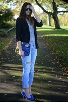 blue asos bag - sky blue Zara jeans - black Zara blazer - silver Primark t-shirt