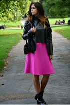 hot pink Topshop skirt - black Zara boots