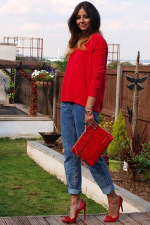 red new look sweater - blue mom shape asos jeans - red Marc by Marc Jacobs bag
