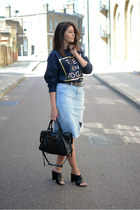 black balenciaga bag - sky blue Zara skirt - black Zara heels