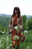 brick red Primark dress - camel new look hat - bronze H&M blazer - carrot orange