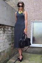 black balenciaga bag - gray Topshop dress - gold Primark necklace
