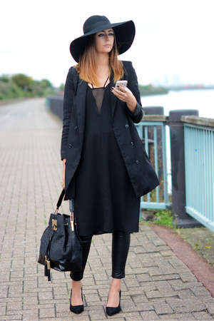 black H&M dress - black Topshop hat - black H&M blazer - black River Island bag