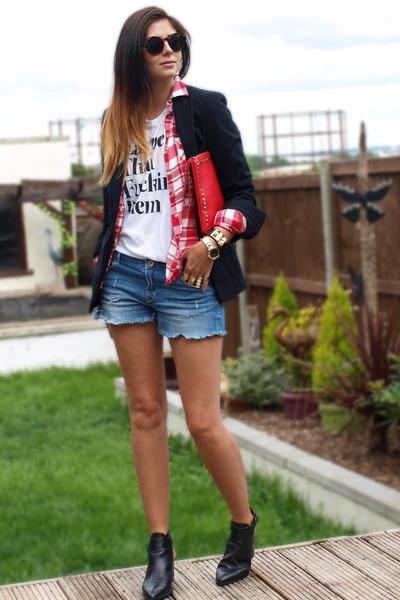 black Zara boots - black Zara blazer - red Primark shirt - red Ebay bag