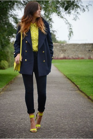 navy H&M coat - navy Primark jeans - yellow Topshop shirt - yellow Zara bag