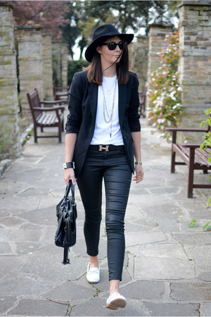 black 7 for all mankind jeans - black H&M hat - black Zara blazer