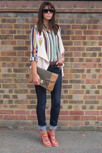 teal Mango shirt - navy Topshop jeans - bronze clutch warehouse bag